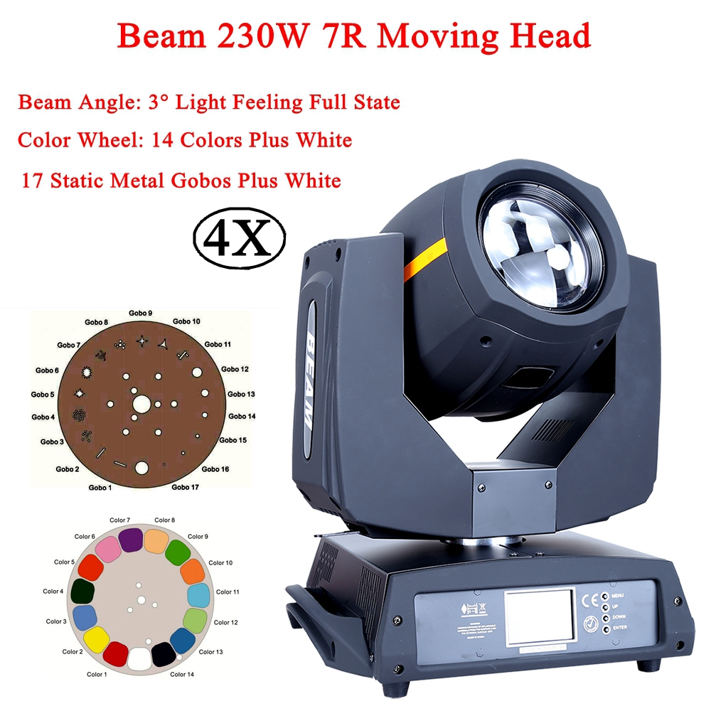 4Pcs/Lot Stage Lighting Beam Light 230W Touch Screen Moving Head DMX512 LED 7R Lamp Bulb 14Colors Gobo For Disco Club DJ Party