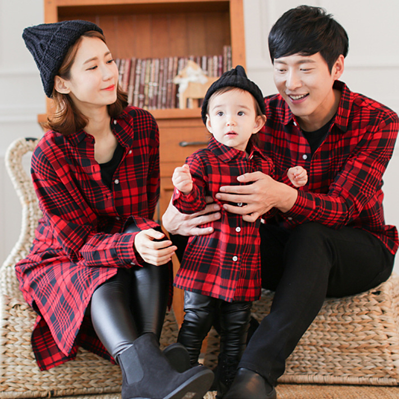 2017 Autumn Family Look Plaid Shirts Matching Mother