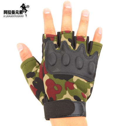 1 pár vysoce kvalitních vojenských rukavic s polovičním prstem a armádou zelené kamufláže bez prstů taktické rukavice