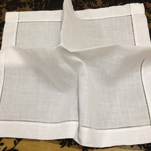 Set de 12 pañuelos de calidad de 20 pulgadas de lino blanco Hemstitch servilleta de mesa para cena servilletas pañuelos vintage pañuelo para invitados