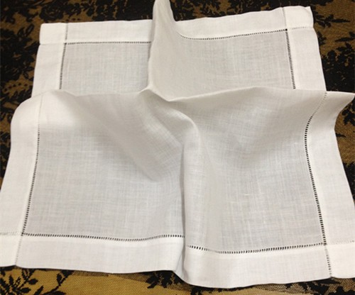 Set Of 12 High Quality Handkerchiefs 20-inch White Linen Hemstitch Table Napkins Dinner Napkins Vintage Hankies Hanky For Guests