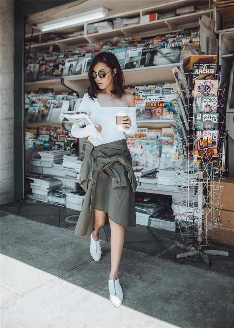 AEL Asymmetrical Women s Summer Knot Skirt Decorate Sleeve buttons Casual Brand Feminina2019 Fashion Personality Femme