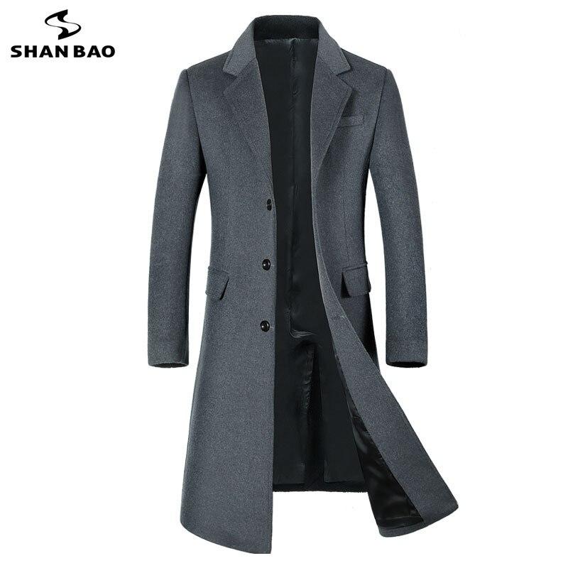SHANBAO 冬厚く暖かいメンズブランドウールコート高級高品質ビジネスカジュアルロングシングルブレストスリムウールジャケット  グループ上の メンズ服 からの ウール混紡 の中 3
