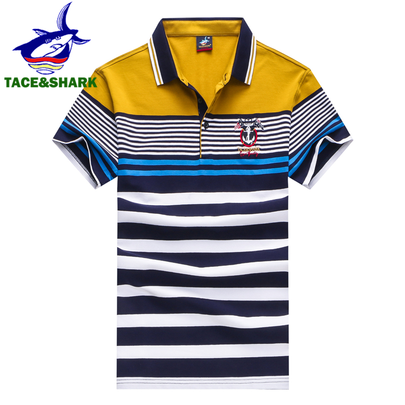 TACE&SHARK Brand High Quality 2018 Men Fashion Casual Lapel Camisa   Polo   Shirts Cotton Male   Polo   Flag Homme Tee Clothing