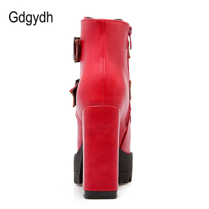 Image 3 - Gdgydh Wholesale Spring Women Boots Platform Rubber Sole Ladies Casual Shoes Plus Size Black High Heels Zipper Red Leather Boots