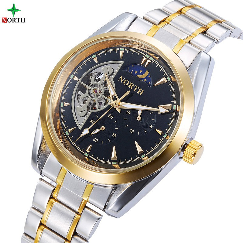Luxury Black Gold Men Mechanical Watches NORTH Brand Silver Stainless Steel Waterproof Automatic Casual Business Dress Watch Men brand new business watch men hollow engraving black gold case stainless steel watches skeleton mechanical automatic wristwatches