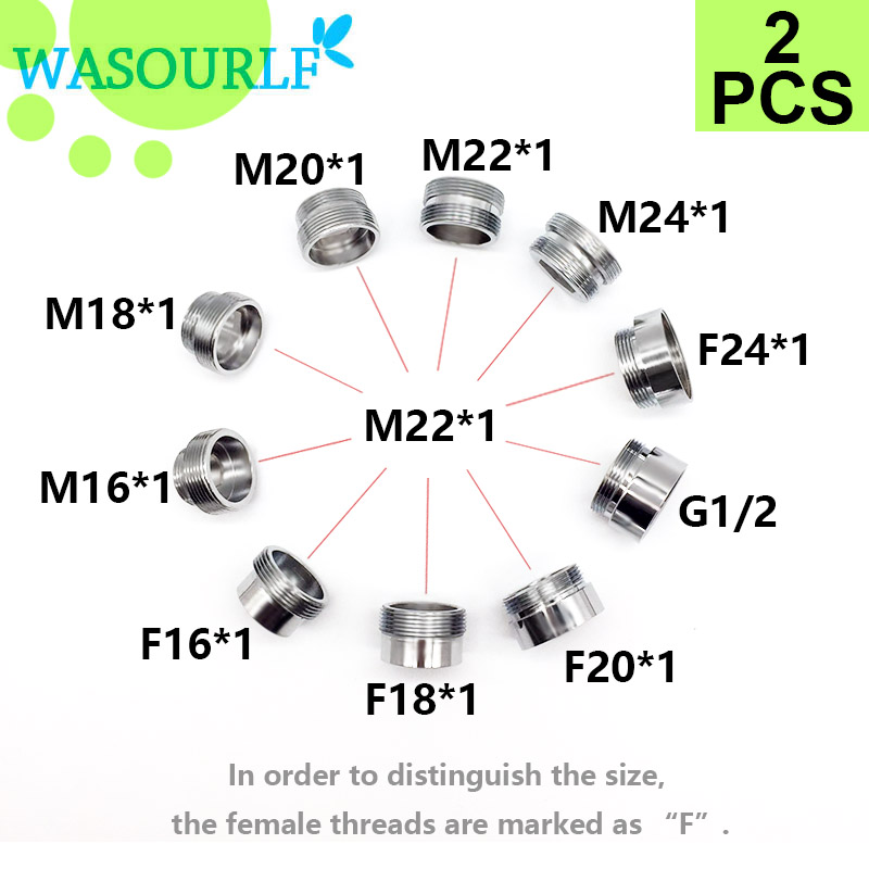 WASOURLF 2PC M22 Male Thread Transfer M18 Male Connector Shower Bathroom Kitchen Brass Chrome Faucet Accessories Connected Hose