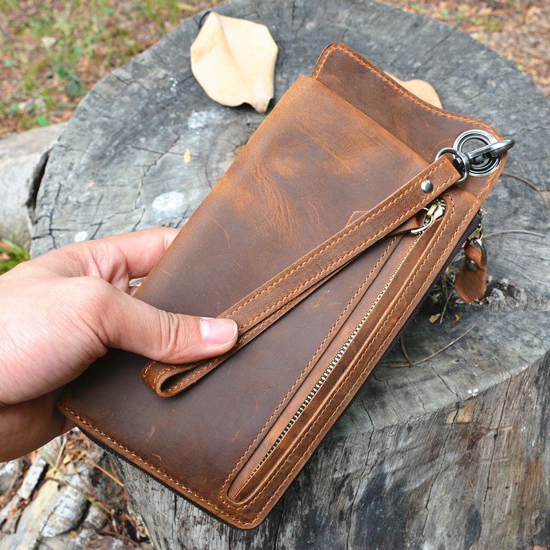 LAPOE Men Wallets with Wristlet Genuine Leather Clutch Purse Long Wallet Male Crazy horse leather man hand bag clutch bag Purse