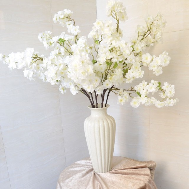 120m47inch long artificial simulation flower cherry blossoms white 120m47inch long artificial simulation flower cherry blossoms white silk branch flowers for wedding home mightylinksfo