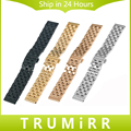 22mm 24mm Universal Watchband Stainless Steel Band Replacement Strap Bracelet with all Link Removable Black Rose Gold Silver