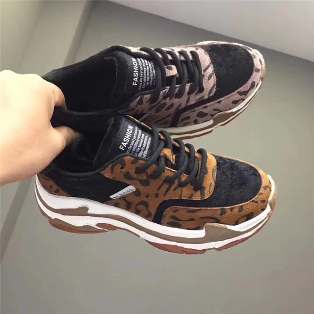 c25a5e23269 Casual Platform Shoes Women Fashion Brand Leopard Print Sneakers Real  Leather Lady chaussure Autumn Female footware Cross-tied
