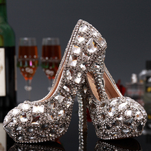 Sexy lady Stiletto Heel Pumps High Heels Bridal Shoes Handmade Party Rhinestone Platform Pumps Crystal Bridal Wedding Shoes