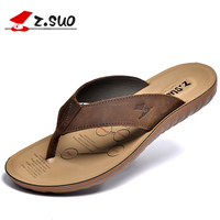 Z Suo 2017 New Genuine Leather Flip Flops Top Quality Men Massage Slippers Summer Cool Sandals