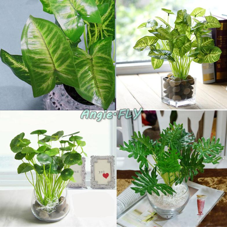 Home Design Ideas Decorating Gardening: Artificial Lifelike Green Leaves Potted Plant Flowers DIY
