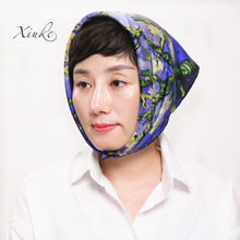 100% silk women Square scarf,Material:twill silk, size:50x50,Thickness 12mm  Navy blue