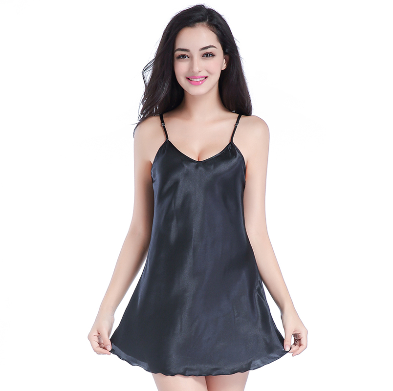 Black Female Sexy Intimate Lingerie Nightgown Women Mini Satin Spaghetti Strap Nighties Faux Silk Nightdress S M L XL XXL GS61