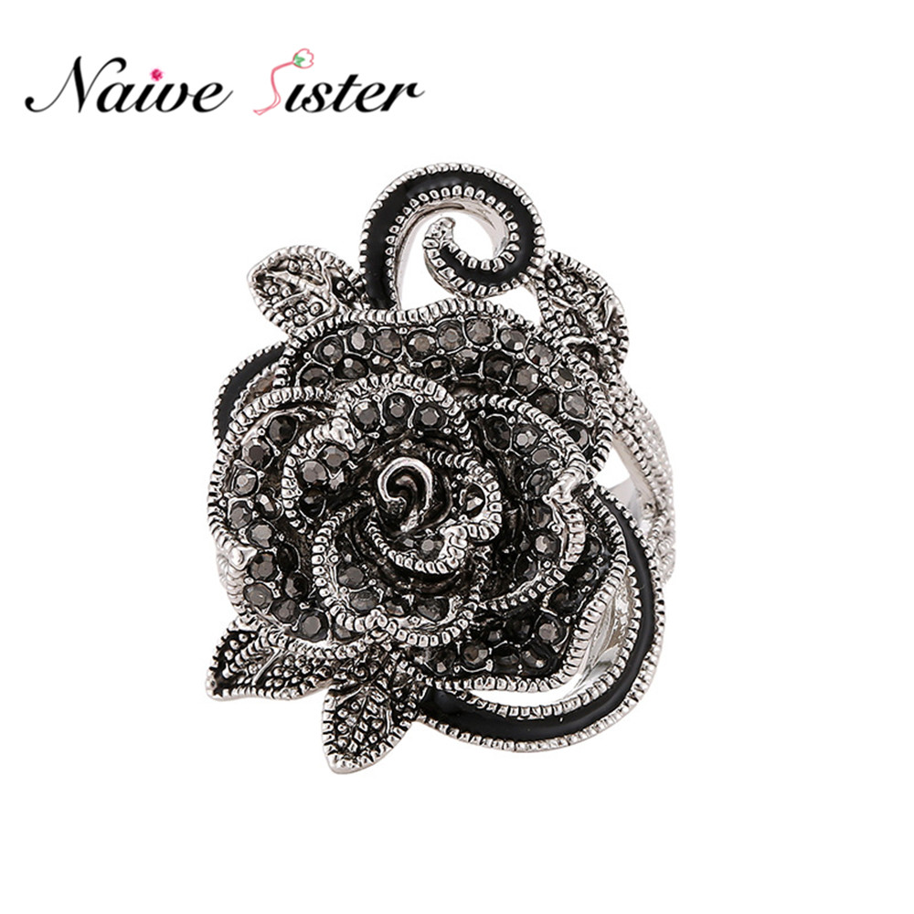 Black Rose Flower Ring For Women Vintage Ladies Rings Fashion Rhinestone Engagement Jewelry Wedding Band Antique Silver Plated