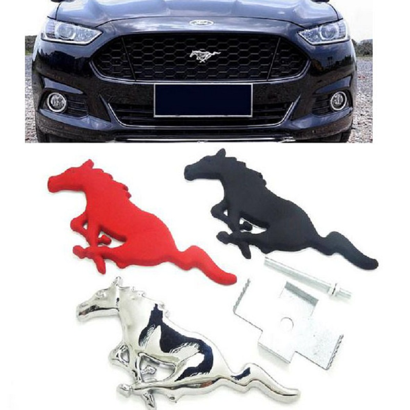 Running Horse Sticker Chrome Metal Emblem Badge For Ford Focus 2 3 Mustang Accessories stickers on cars Car-Styling metal red st front grille sticker car head grill emblem badge chrome sticker for ford fiesta focus mondeo auto car styling