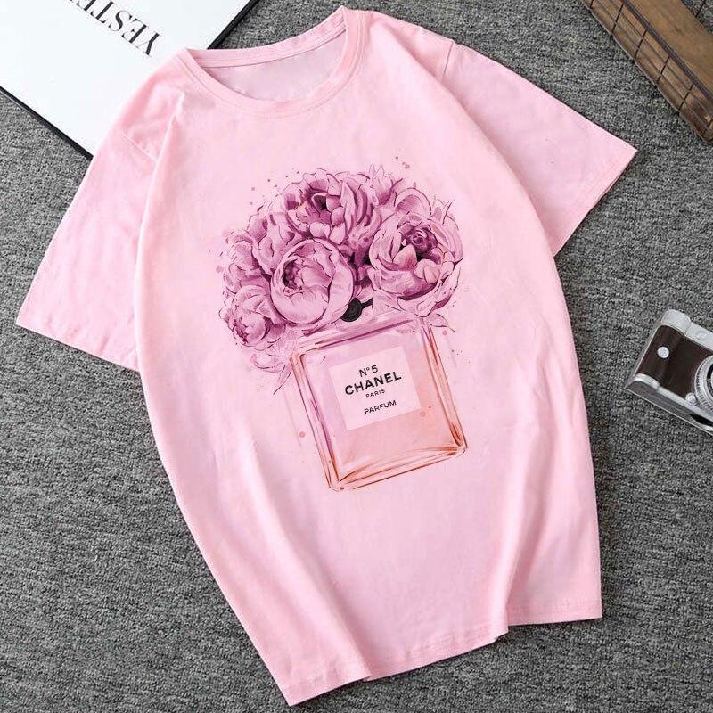 Camisetas Summer Fashion   T     Shirt   Perfume Flower Printed Harajuku Leisure Round Neck Female   T  -  shirt   Women Clothes