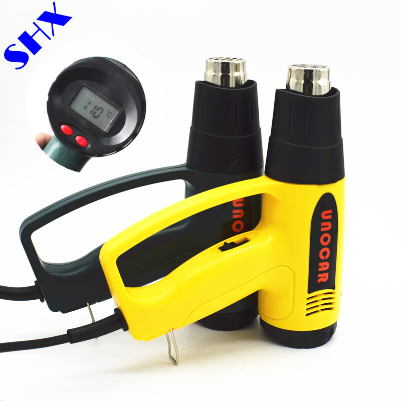 цена на 2000W 220V EU Plug Industrial Electric Hot Air Gun Thermoregulator LCD Display Heat Guns Shrink Wrapping Thermal Heater Nozzles