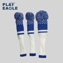 Phong Cách mới 3 cái/bộ 3 Sọc Kẻ sắc màu Kniting Golf Driver Đầu Gỗ Có Len Đan 1 3 5 Fairway Bảo Vệ headcover