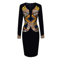 Fashion Long Sleeve Dashiki Dress Slim Fit By Batik And Black Mix Fabric Patchwork African Clothes