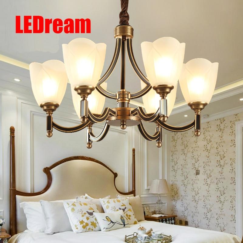 American droplight full copper lamp American restaurant for sitting room the bedroom lamp atmospheric lighting
