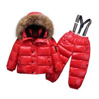 Real fur down coat with hood Jacket+jumpsuit kids Baby toddler girl boy children clothes coat parkas 2pcs winter outfit suit