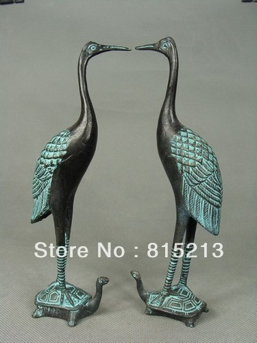 Wang 00073 Pair Of Collectibles Chinese Bronze Crane And Tortoise Figures & Statues