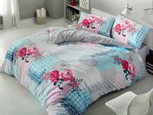 Комплект постельного белья двуспальный-евро cottonbox, голубой, с узором