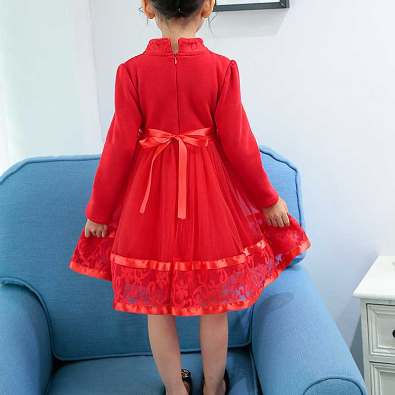 8a4c2d45f3 Holiday Dresses for Girls 3 12Years Chinese Tang Lace Princess Voile Tutu  Dress Long Sleeve New Year Costumes Children Clothes-in Dresses from Mother    Kids ...