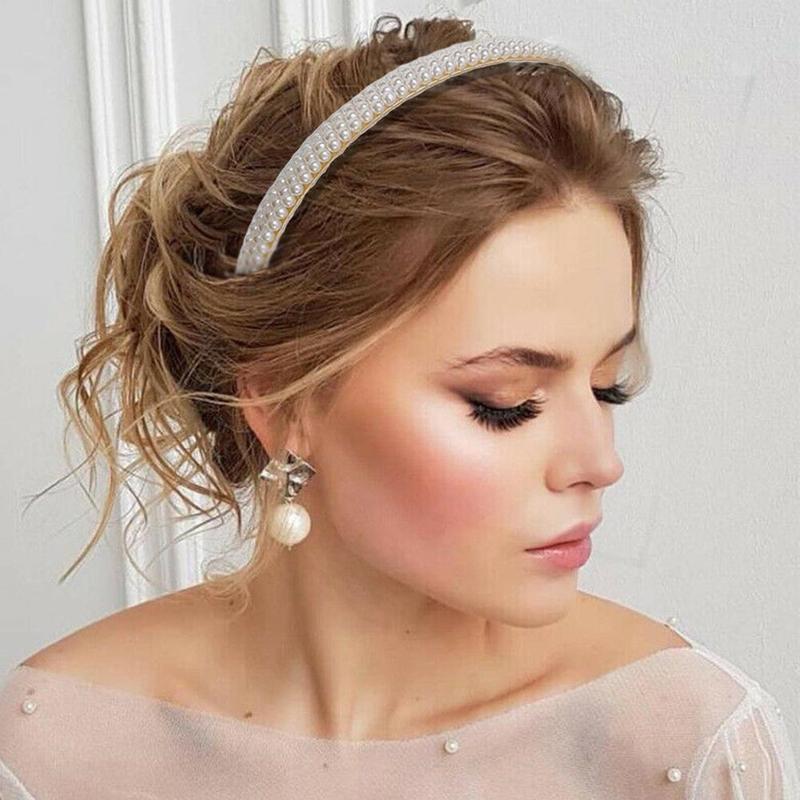 Женская Имитация Большой жемчуг повязка на волосы для девушек аксессуары для волос женский элегантный свадебный ободок вечерние Свадебные обруч для волос - 3