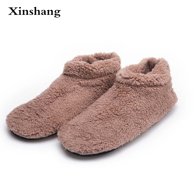 Winter Big Size Men Warm Soft Bottom Solid Color Flannel Indoor Floor Plush Home Shoes For Man Bedroom House Furry Slippers