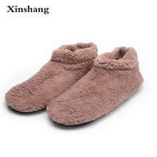 abacb0f58a03a Winter Big Size Men Warm Soft Bottom Solid Color Flannel Indoor Floor Plush Home  Shoes For Man Bedroom House Furry Slippers