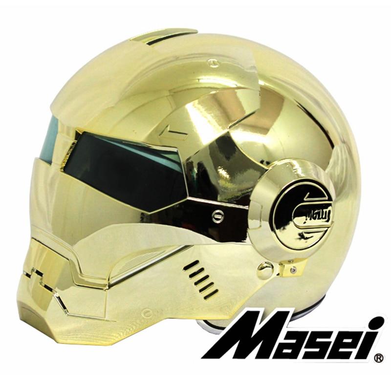 Masei 610 galvaniza chapeamento de ouro cromo ironman homem de ferro capacete da motocicleta meio aberto rosto capacete abs motocross