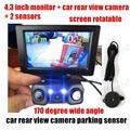3 in 1Hot sale LED Car auto Video Parking Sensors camera Rear Camera with 2 Sensors Indicator Bi Bi Alarm 4.3 inch HD monitor