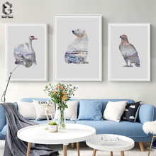 Nordic Landscape Silhouette Eagle Canvas Art Posters and Prints Wall Picture Swan Painting Decorative Modern Home Decoration