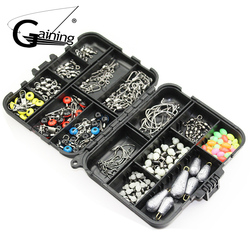 177pcs/box Fishing Accessories Kit Including Fishing Swivels Snaps Fishing Line Beads Fishing Accessories Set with Tackle Box