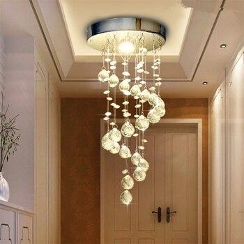 โคมไฟระย้าคริสตัล LED ไฟ LED หลอดไฟสำหรับทางเดิน Cristal Luster โคมไฟระย้าคริสตัลแขวนเพดานติดตั้ง
