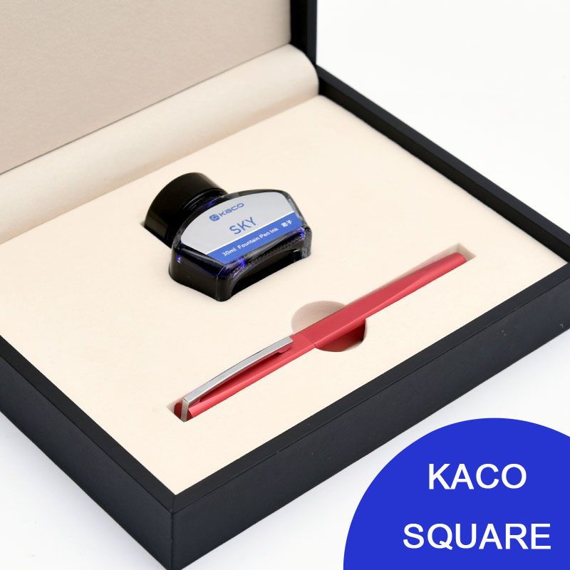 KACO SQUARE Luxury Red Aluminum Fountain Pen Set Noble Silver Clip Ink Pens for Business Partner/Student/Teacher/Parents Gift fountain pen kaco sky 0 38mm extra fine nib ink fountain pen student practise calligraphy writing pens 7 colors for choose