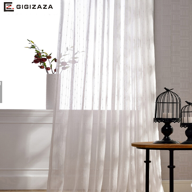 Cheap Stripe Jacquard Voile Window Curtains For Bedroom White Fabric Grommet  Sheer Process Custom Size For