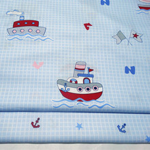 Half Meter Sea Anchor Boat Stars Print Twill Cotton Fabric Patchwork Cloth DIY Sewing Quilting Material For Baby Child B151