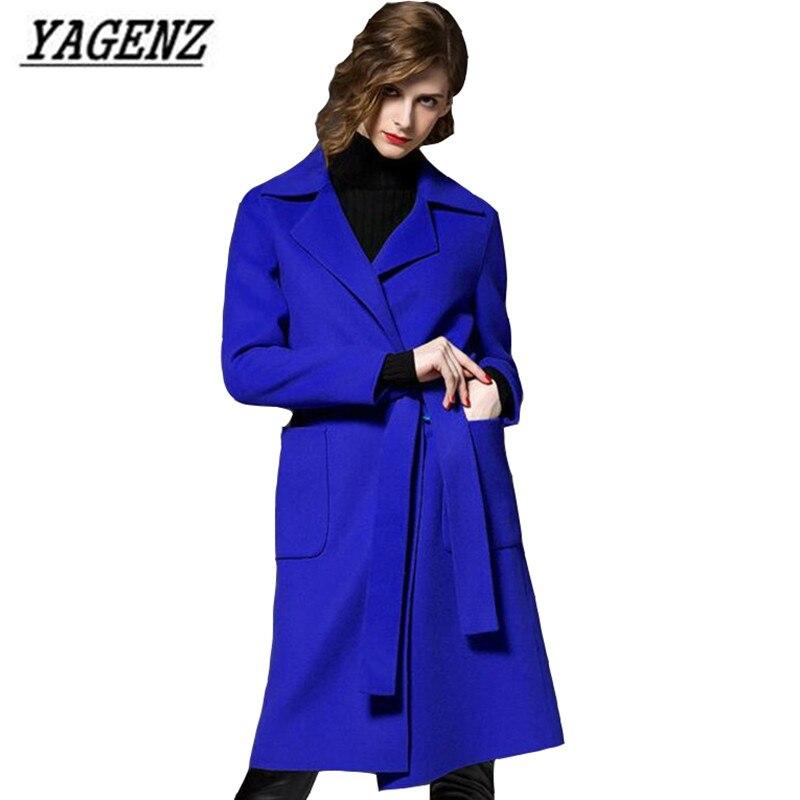 camel blue black Red Manteau Haute Col Pardessus Femmes Tailleur 2017 Yagenz Chaud Hiver Mode Big Laine long Mince Qualité Moyen Lady Veste Solide Élégante w1AgfBfq