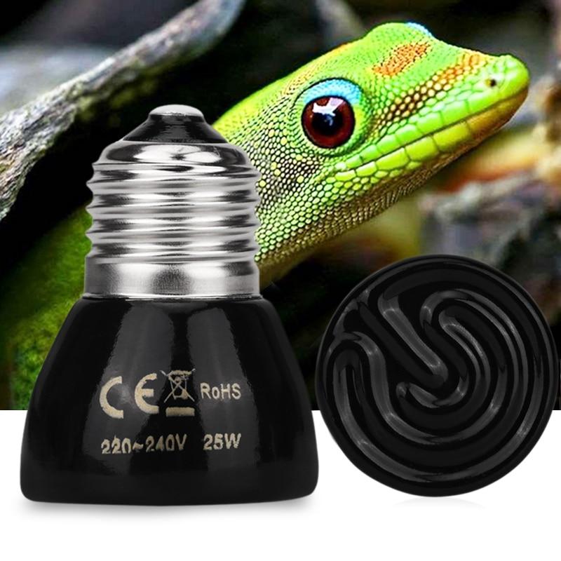 Pet Heating Light Bulb E27 25W 50W 220-240V Infrared Ceramic Emitter Heat Light Lamp Bulb Black For Reptile Pet Brooder