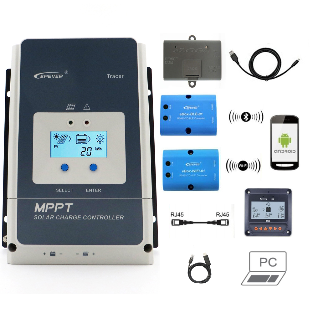 Tracer 50/60/80/100A MPPT Solar Charge Controller 12V 24V 36V 48V EPEVER Regulator MT50 WIFI Bluetooth PC Communication Mobile ATracer 50/60/80/100A MPPT Solar Charge Controller 12V 24V 36V 48V EPEVER Regulator MT50 WIFI Bluetooth PC Communication Mobile A