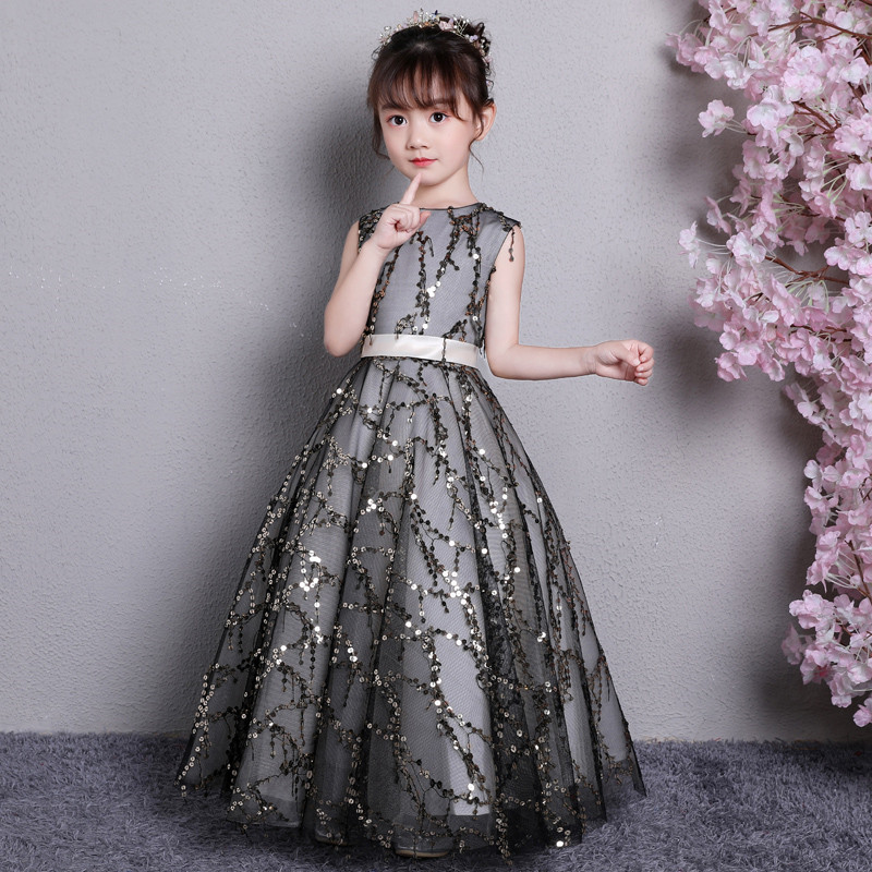 2018 High Quality Children Girls Elegant Evening Party Birthday Sequined Prom Dress Teens Kids Model Show Pageant Long Dress2018 High Quality Children Girls Elegant Evening Party Birthday Sequined Prom Dress Teens Kids Model Show Pageant Long Dress