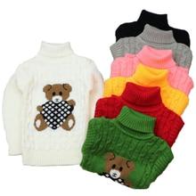 Зимняя одежда для мальчиков и девочек Вязаный Свитер плотная теплая одежда высокого качества с рисунком и высоким воротником для детей от 2 до 7 лет Лидер продаж года