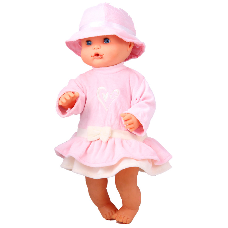 13inch Doll Clothes 35CM Nenuco Ropa Accesorios Nenuco 35 CM Baby Doll Pink Outing Bow Clothes Holiday Dress (without Sun Hat)