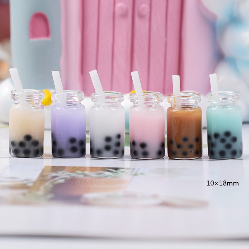 10Pcs Fairy Garden Miniature 3D Kawaii Pearl Lilk Tea Resin Cabochon Flatback DIY Scrapbooking Embellishment Decoration Craft