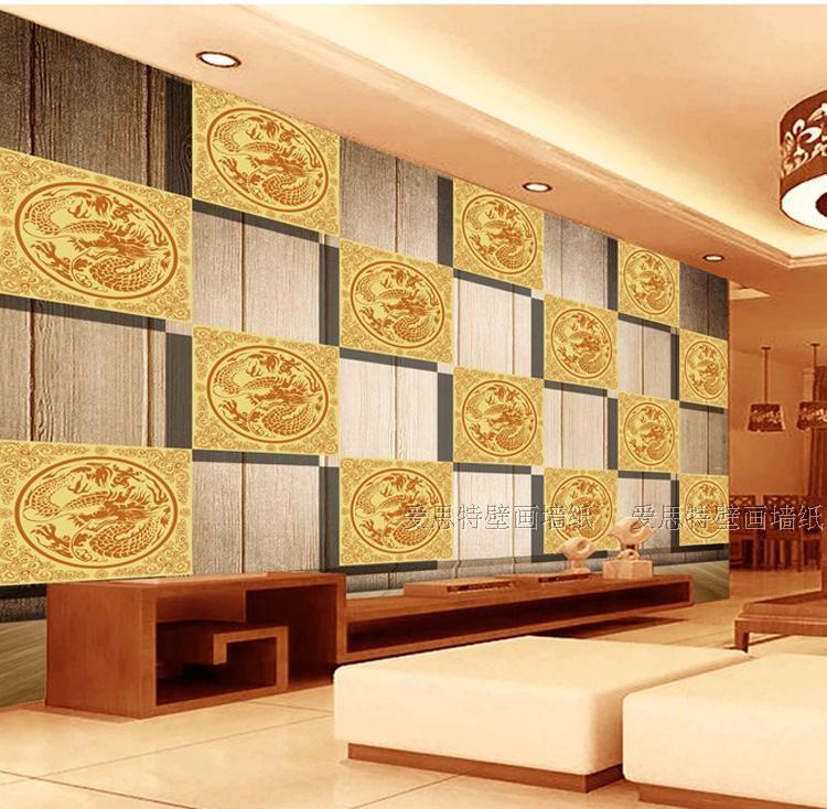 Custom 3d mural China dragon wooden 3D lattice wallpaper living room wallpaper mural hotel lobby classical wall wallpaper